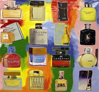 perfume! collage - 16 bottles by steve kaufman