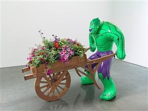 hulk (wheelbarrow) by jeff koons