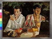 harlequin and pierrot, double self portrait by sergei yur'evich sudeikin