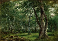 woodland interior with stream by john frederick kensett
