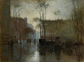 rainy day, new york by paul cornoyer