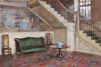 entrance hall, moffatt-ladd house by walter gay