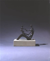 mother and child on knee by henry moore