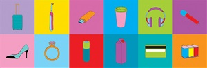 objects of our time (4 wheel suitcase, credit card, diamond ring, electric toothbrush, high heel, juice carton, long-life battery, memory stick, noise canceling headphones, recycling bins, takeaway coffee, wireless mic) by michael craig-martin