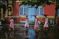 procession of nuns, rangoon, burma by steve mccurry