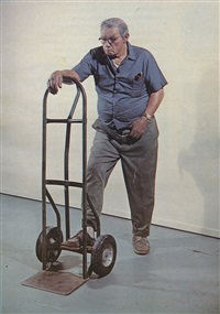 man with handtruck by duane hanson