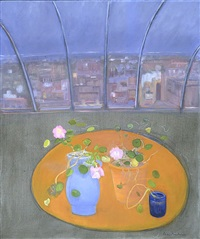nasturtiums and petunias i by jane freilicher