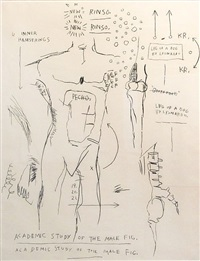 academic study of a male figure by jean-michel basquiat
