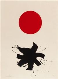 black splash under red sphere by adolph gottlieb