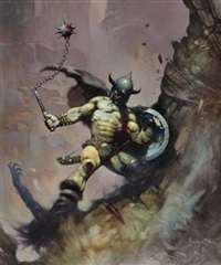 warrior with ball and chain, flashing swords no.1, paperback cover by frank frazetta