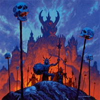 a firepit, realms of wonder calendar illustration by tim hildebrandt