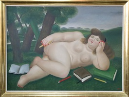 reclining nude with books and pencils on lawn by fernando botero