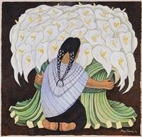 mujer con alcatraces by diego rivera