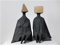 pair of sitting figures i by lynn chadwick