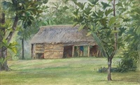 mataafa's cook house, from our hut at vaiala, samoa by john la farge