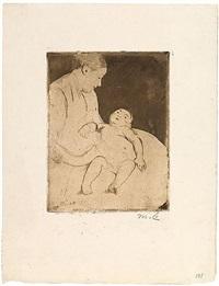 bill lying on his mother's lap by mary cassatt