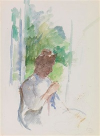 profile of a seated woman sewing (femme assise cousant) by mary cassatt