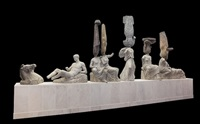 eternity-parthenon east pediment, northern qi golden and painted buddha, tang dynasty torso of standing buddha from quyang city, northern qi painted bodhisattva, tang dynasty seated buddha from tianlongshan, northern qi painted buddha, tang dynasty torso by madein