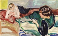 zwei liegende frauen / two reclining women by edvard munch