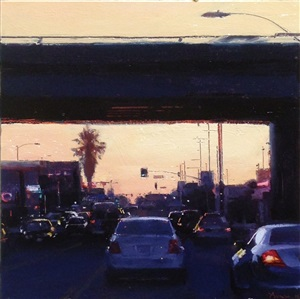 freeway at sunset by ben aronson