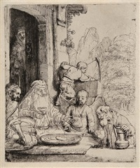 abraham entertaining the angels by rembrandt van rijn