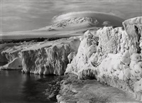 erebus and dome cloud from west beach, two thirty pm, icicled foreground, march 7 1911 by herbert george ponting
