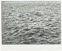 ocean surface woodcut by vija celmins