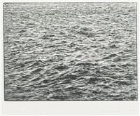 ocean surface woodcut by vija celmins