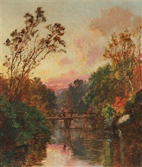 sunset over the bridge by jasper francis cropsey