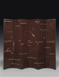 six-panel lacquer and incised screen by eileen gray