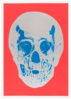 coral red silver gloss true blue skull by damien hirst