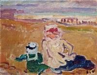 mère et enfant sur la plage by louis valtat