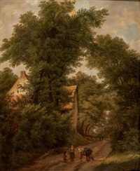 woodland landscape with figure on a path by isabella catherine van assche-kindt