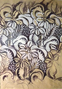 fleurs et feuillages, noir et blanc by raoul dufy