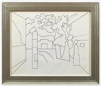 untitled (black and white variation on town square) by stuart davis