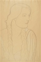portrait of a girl with braids by gustav klimt