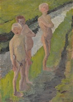 three bathing boys by the canal by paula modersohn-becker