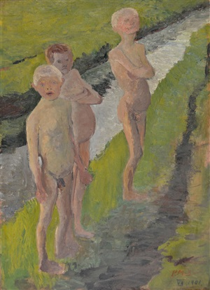 three bathing boys by the canal by paula modersohn-becker