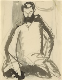 bearded man seated by amedeo modigliani
