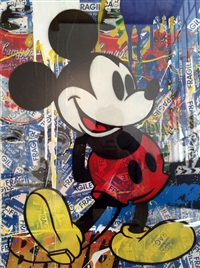 mickey (blue fragile stickers) by mr. brainwash