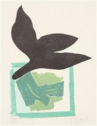 oiseau noir sur fond vert (schwarzer vogel auf grünem grund) aus si je mourais là-bas (guillaume apollinaire) by georges braque