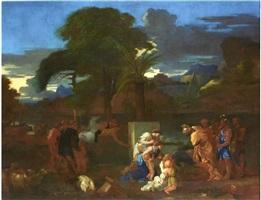 paysage avec la rencontre de jacob et esaü by sébastien bourdon