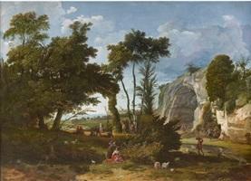 scène pastorale au pied d'une carrière by jean pierre louis houel