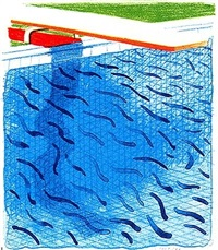 pool made with paper and blue ink for a book by david hockney