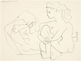 jeunes femmes nues reposant (sich entspannende junge, nackte frauen) by pablo picasso