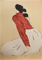 untitled (woman in red jacket) by rudolph carl gorman