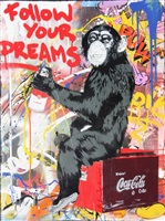 everyday life (unique) <br /> follow your dreams monkey by mr. brainwash