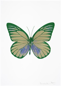 the soul i - cool gold, cornflower blue, emerald green by damien hirst