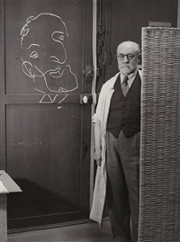 artist matisse with a drawing he made with his eyes closed by brassaï