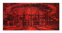 untitled (roundhouse – red) by matt mullican